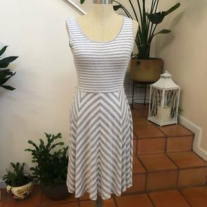 Calvin Klein | White and Gray Striped Dress